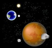 Abstract background with Mars, its satellites, earth, moon and sun. EPS10 vector illustration Royalty Free Stock Photos