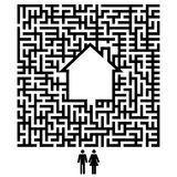 Abstract background with maze. Couple and house - choosing time stock illustration
