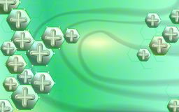 Abstract background medical and science concept. Cross green abstract composition. Technological hexagon pattern can be used for