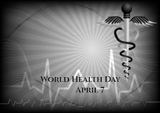 Abstract background with medical symbols. World Health day. Caduceus Royalty Free Stock Photo