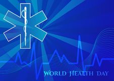 Abstract background with medical symbols. World Health day. Star of Life. Vector illustration Stock Photography