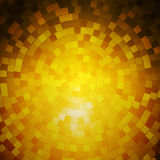 Abstract background of metal mosaics located in a circle. Lighting effects. Shades of gold Stock Photos