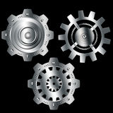Abstract background metallic chrome silver gears. Abstract background metallic chrome silver with gears Royalty Free Stock Images