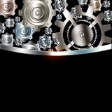 Abstract background metallic chrome silver gears. Abstract background metallic chrome silver with gears Stock Images