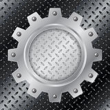 Abstract background with metallic cogwheel Stock Photo