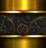 Abstract background metallic. Gold with gears, vector illustration stock illustration