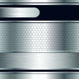 Abstract background, metallic silver banners Stock Photography