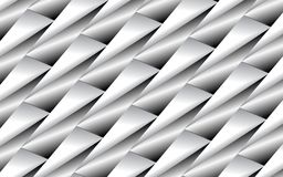 Abstract background of metallic triangles in 3D over a surface of silver tubes. Abstract geometric background of triangles and tubes in 3D appearance and silver Vector Illustration