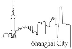 Shanghai city one line drawing background. Abstract background with  metropolis cityscape Stock Photos