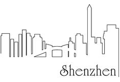 Shenzen  city one line drawing abstract background. Abstract background with  metropolis cityscape Stock Photography