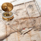 Abstract background of mixed grunge vintage fake treasure maps with compass Stock Photography