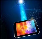 Abstract background with a modern tablet Royalty Free Stock Photos