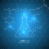 Abstract background with  molecule structure. Abstract background with molecule structure. genetic and chemical compounds, Chemical flask and a formula, research Stock Photos