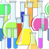 Abstract background with motley chemical glassware vector illustration