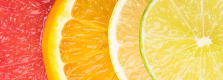 Abstract background with motley citrus-fruit slices, close-up background stock image