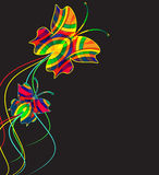 Abstract background from multi-colored butterflies. With curls vector illustration