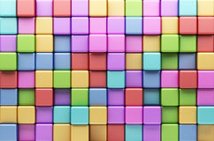 Abstract background of multi-colored cubes 3D. Abstract background of multi-colored cubes. 3D Illustration Royalty Free Stock Photo