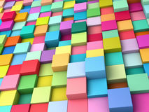 Abstract background of multi-colored cubes.  Stock Photos