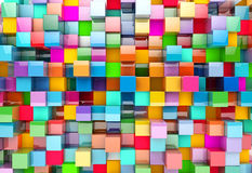 Abstract background of multi-colored cubes, 3D illustration.  Royalty Free Stock Photography