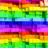 Abstract background of multi-colored cubes. 3D Illustration Stock Images