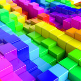 Abstract background of multi-colored cubes. 3D Illustration Stock Photo