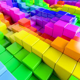 Abstract background of multi-colored cubes. 3D Illustration Royalty Free Stock Photography