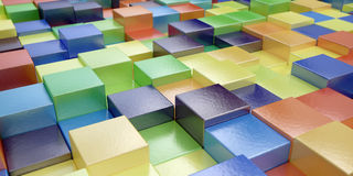 Abstract background of multi-colored cubes - 3D rendering. Abstract background of multi-colored shiny cubes - 3D rendering Royalty Free Stock Images