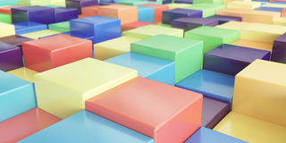 Abstract background of multi-colored cubes - 3D rendering. Abstract background of multi-colored shiny cubes - 3D rendering Royalty Free Stock Photos