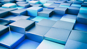Abstract background of multi-colored cubes - 3D rendering. Abstract background of multi-colored shiny cubes - 3D rendering Stock Image