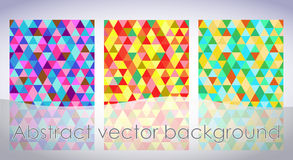 Abstract background from multi-colored triangles. Three abstract background from multi-colored triangles Stock Photos