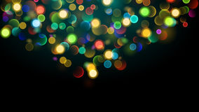 Abstract background with multicolored bokeh effect. Abstract background with bokeh effect. Blurred defocused multicolored lights. Colored bokeh lights on black Stock Illustration