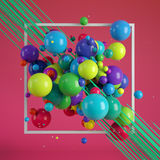 Abstract background, Multicolored decorative balls. 3d rendering Royalty Free Stock Image