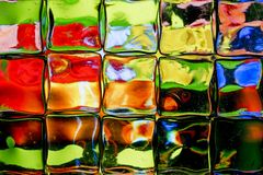 Brightly colored glass block wall stock photo