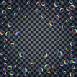 Abstract background with the multicolored realistic soap bubbles Stock Images