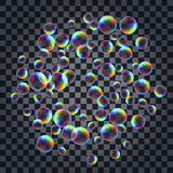Abstract background with the multicolored realistic soap bubbles Stock Photography