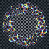 Abstract background with the multicolored realistic soap bubbles Stock Photo