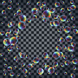 Abstract background with the multicolored realistic soap bubbles Royalty Free Stock Image