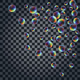 Abstract background with the multicolored realistic soap bubbles Royalty Free Stock Photography