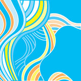 Abstract background with multicolored waves. Blue background with blue, orange and yellow waves Royalty Free Stock Photography