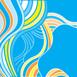 Abstract background with multicolored waves. Blue background with blue, orange and yellow waves Stock Image