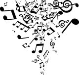 Abstract background of musical notes, white and black Stock Photo