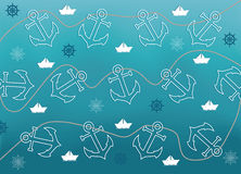 Abstract background with marine objects. Navy background vector illustration with anchors, paper boats, ship wheels and tangled rope Vector Illustration