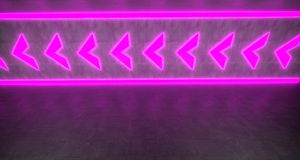 Abstract Background With Neon Arrow Lights On Concrete Surface 3. Abstract Background With Neon Arrow Lights On Concrete Surface With Reflection 3D Rendering Royalty Free Stock Images