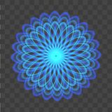 Abstract background with neon blue circles like a flower on transparent. Vector Royalty Free Stock Photo