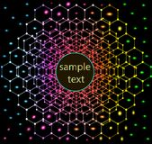 Abstract background with neon hexagons in space Royalty Free Stock Image