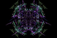 Abstract background - Neon light star. Silk symmetry series Stock Photo