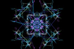 Abstract background - Neon light star. Silk symmetry series Royalty Free Stock Photo