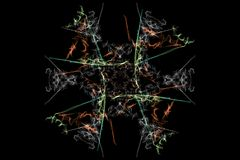 Abstract background - Neon light star. Silk symmetry series Royalty Free Stock Image