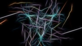 Abstract background, neon light stripes over dark. Fractal silk symmetry series Stock Photography