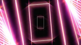 Abstract background with neon red rectangles moving one by one on black background, seamless loop. Animation. Glowing stock illustration